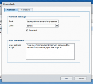 Scheduled task with user-defined script in Synology DSM 4.2